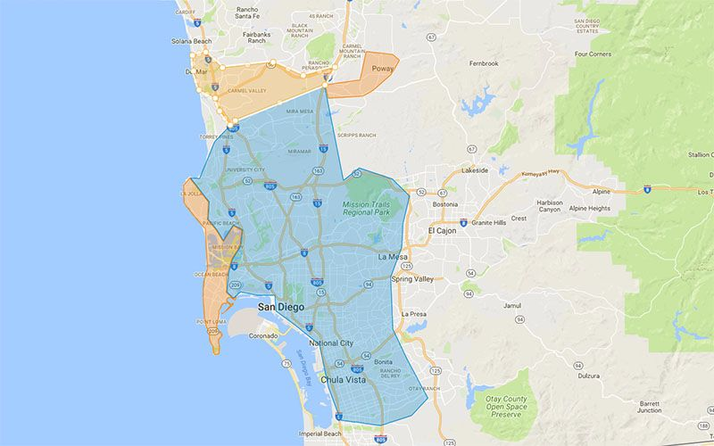 San Diego Network Coverage Areas